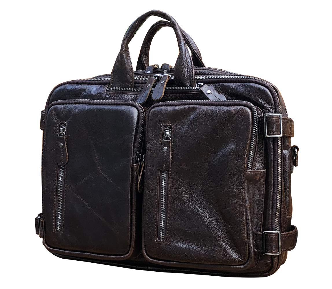 Men's Leather Messenger Bags Office School Backpacks Shoulder Laptop Business Briefcases Bags Daypacks for Men, Coffee