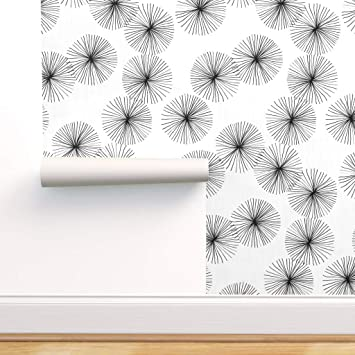 Spoonflower Peel And Stick Removable Wallpaper Dandelion White Black Puffs Minimalist Mod Mid Century Modern Floral And Print Self Adhesive Wallpaper 12in X 24in Test Swatch Amazon Com