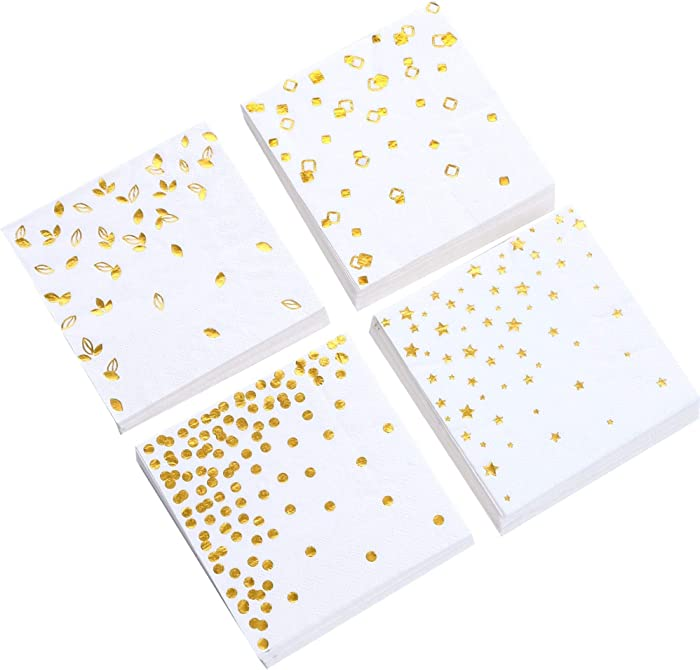 100 Gold Napkins - 4 Assorted Designs | 3-Ply Cocktail Napkins Folded 5 x 5 Inches | Bar Napkins Disposable Party Napkins Paper Napkins Dinner for Wedding Baby Shower Birthday Graduation Napkins 2020