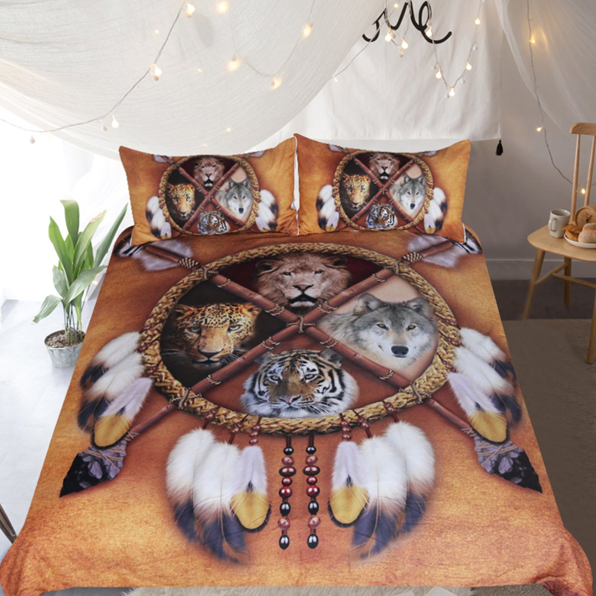 Sleepwish Wolf Dream Catcher Bedding, Native American Golden Brown Indian Bedspreads, Lion and Tiger 3 Piece Tribal Animals Duvet Cover (King)