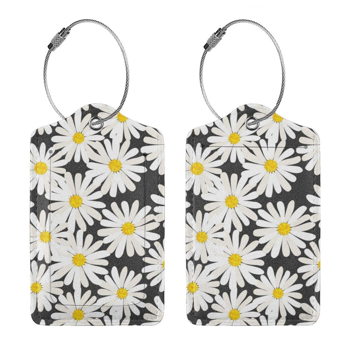 GoldK Little Daisy Leather Luggage Tags Baggage Bag Instrument Tag Travel Labels Accessories with Privacy Cover