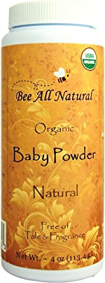 Bee All Natural Organic Baby Powder, Talc-Free, 4-Ounce Bottle…. Gluten Free