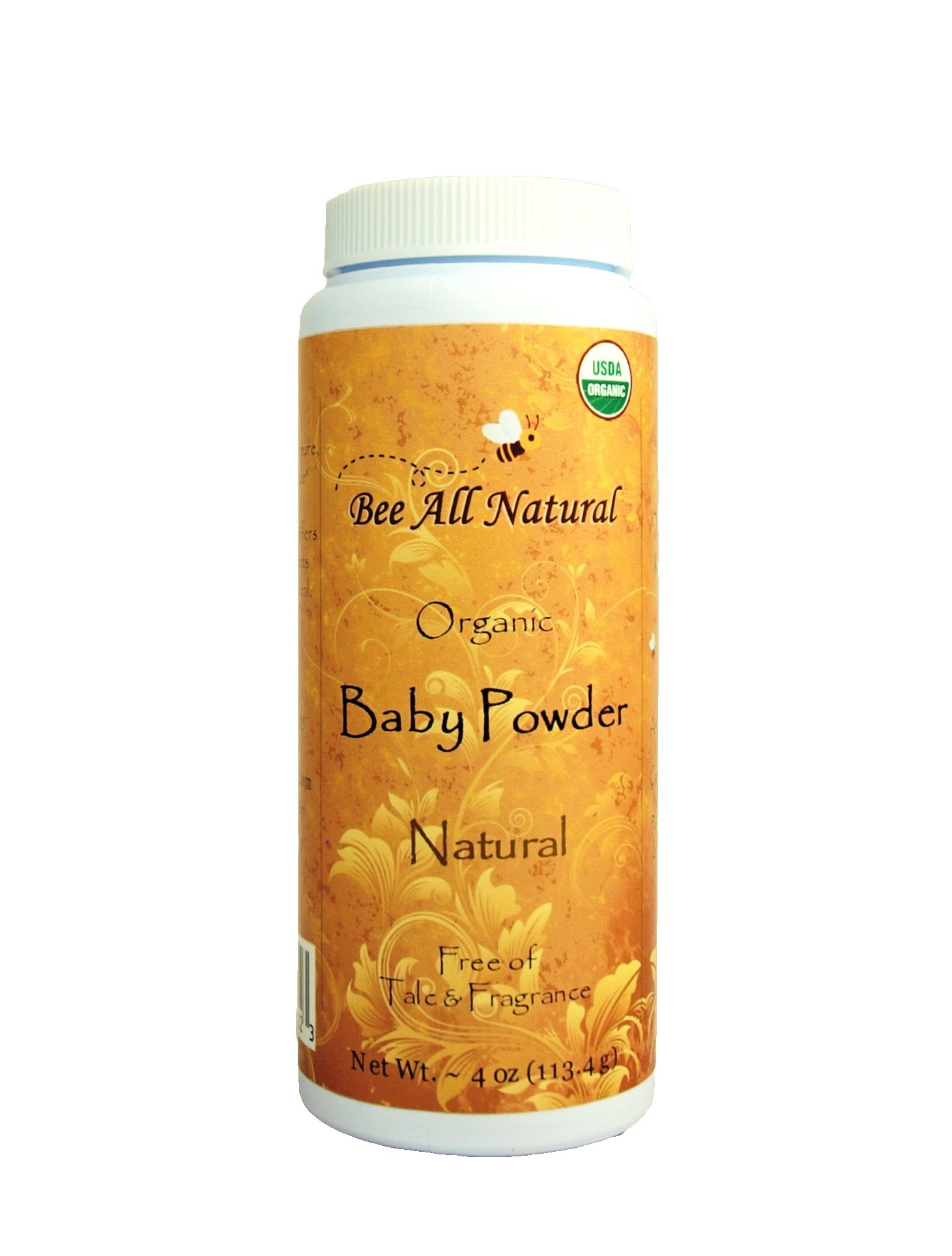 Bee All Natural Organic Baby Powder, Talc-Free, 4-Ounce Bottle