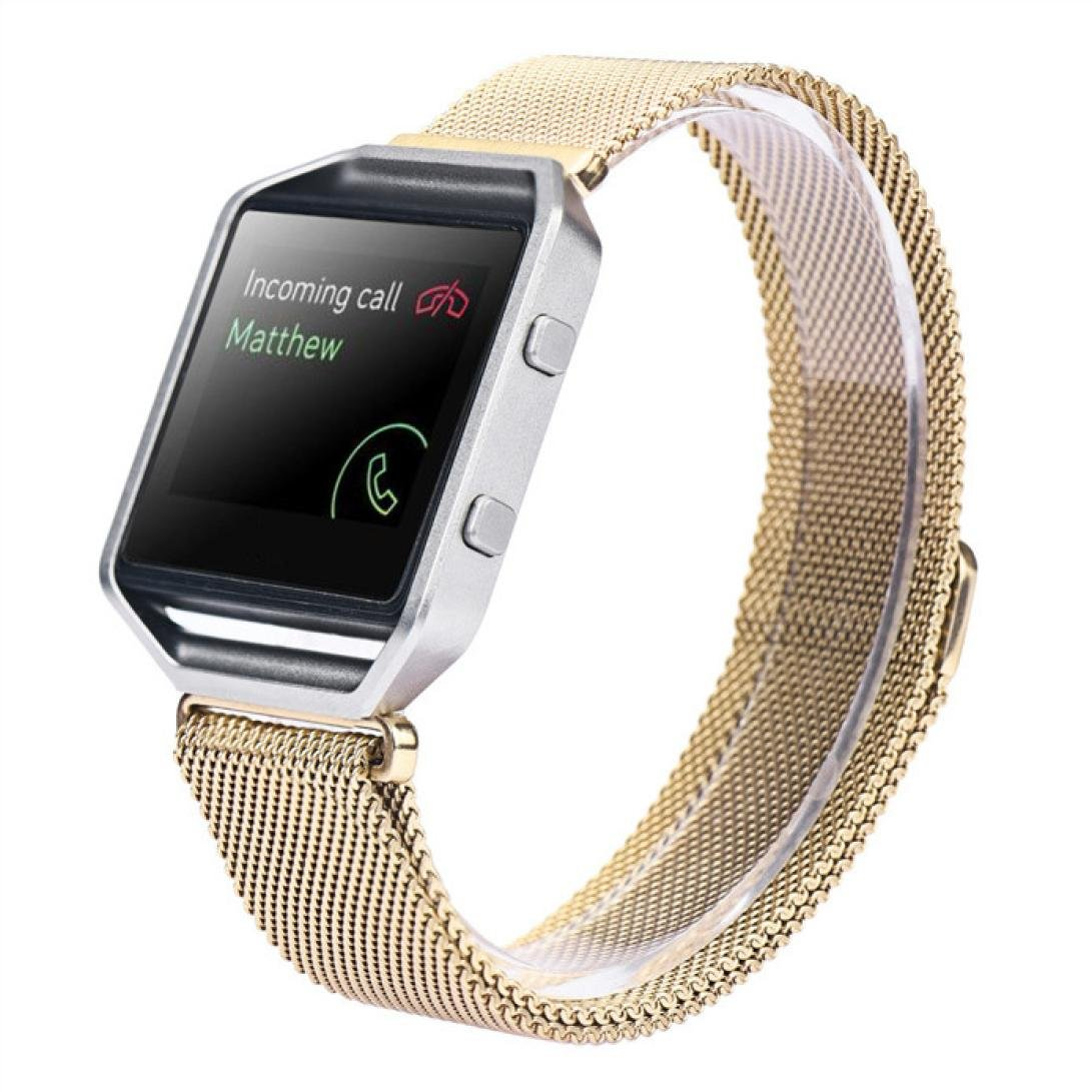 LANDFOX Milanese Magnetic Loop Stainless Steel Bands Strap Bracelet For Fitbit Blaze Gold2