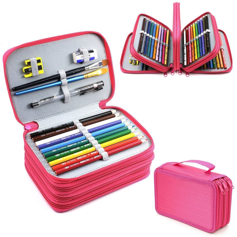 4 Layers High Capacity Pencil Brush Case Box Pen Pouch Bag Makeup Storage Bag Hot Pink