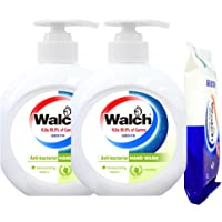 Walch Hand Wash Twin Pack and Wet Tissue, 10 count, 525ml, (Pack of 2)