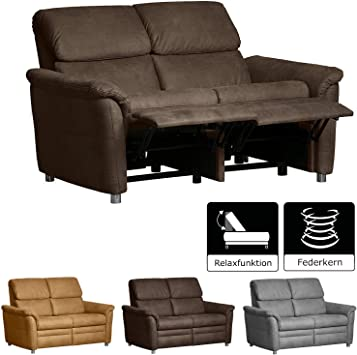 Cavadore 2 Sitzer Sofa Chalsay Inkl Relaxfunktion Mit Federkern Moderne Couch Grosse 145 X 94 X 92 Cm Bxhxt Farbe Braun Chocco Amazon De Kuche Haushalt