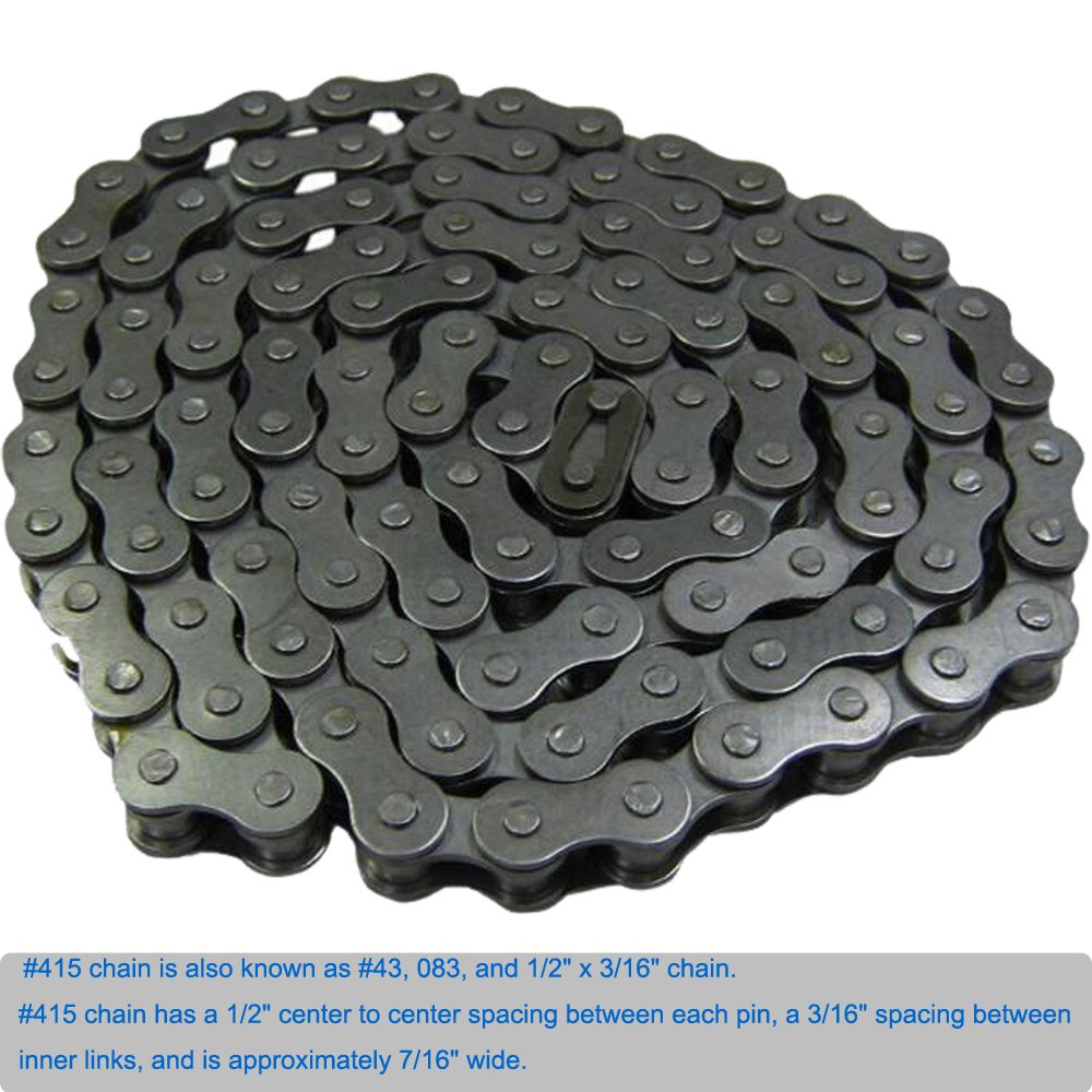 Mumaxun #415 Type of Chain, 415-110L Chain for 49cc to 80cc 2-Stroke Engine Motorized Bikes/Bicycle I CH15
