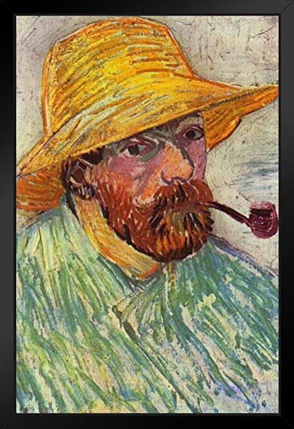 24bfd2c5a4c Vincent Van Gogh Self Portrait with Pipe and Straw Hat Framed Poster 14x20  inch
