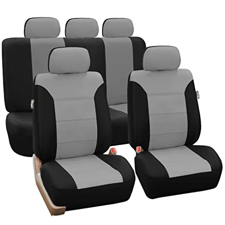FH Group FB065GRAY115 Gray Classic Khaki Car Seat Cover Full Set Airbag Ready And Split