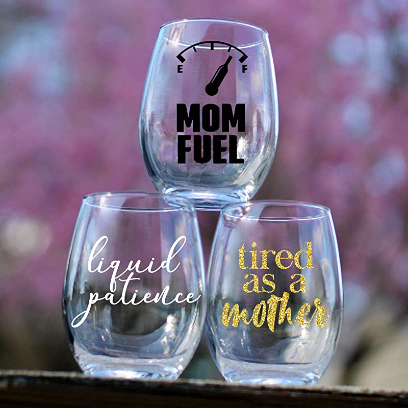 Mommy Juice Stemless Wine Glass Mom Quotes Individual Custom Vinyl Stemless Wine Glasses