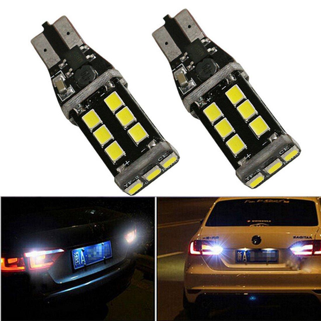FEZZ 2pcs lampadine LED CANBUS T15 2835 15SMD luci di stop girare segnale della parte posteriore dell'automobile auto esterno bianco FZ0008-01