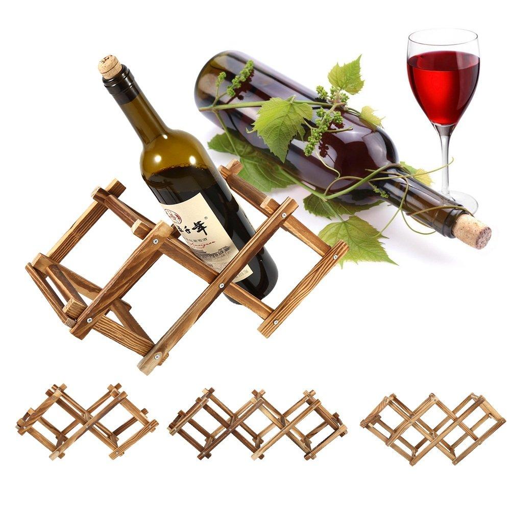 Foldable Wooden Wine Rack Bottle Holder Storage Free Standing Bottle