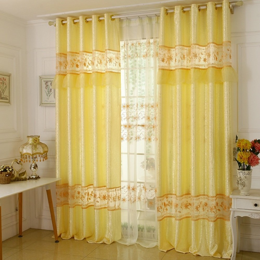 Living curtains bedroom decorative drapes shade insulation cloth european printing linen floor nordic fashion pastoral sweet princess wind simple modern 1 Panels-yellow W400xH270cm(157x106inch)