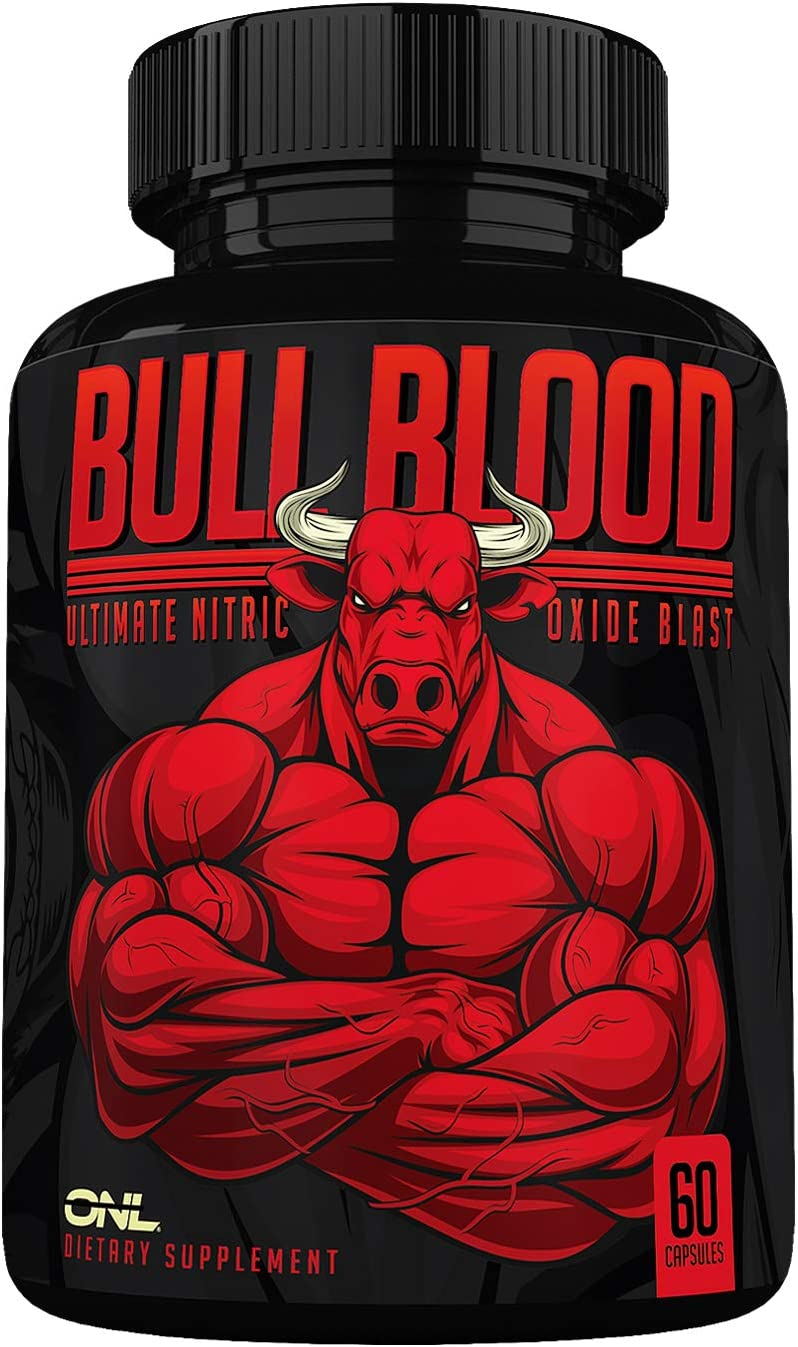 Bull Blood Nitric Oxide Supplement - Extra Strength L Arginine & L Citrulline Pills for Muscle Growth, Pumps, Blood Flow for Men - NO Booster for Enhancing Male Strength & Energy - 60 Veggie Caps
