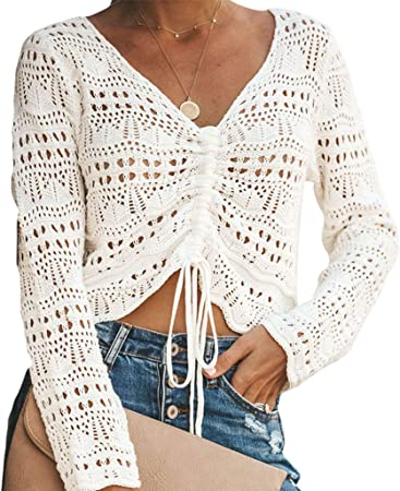 BIlinli 2019 Camisa Floral de Crochet para Mujer Hollow out Mesh Camisa de Manga Larga Tops Bikini Cover-up Crop Tops: Amazon.es: Hogar