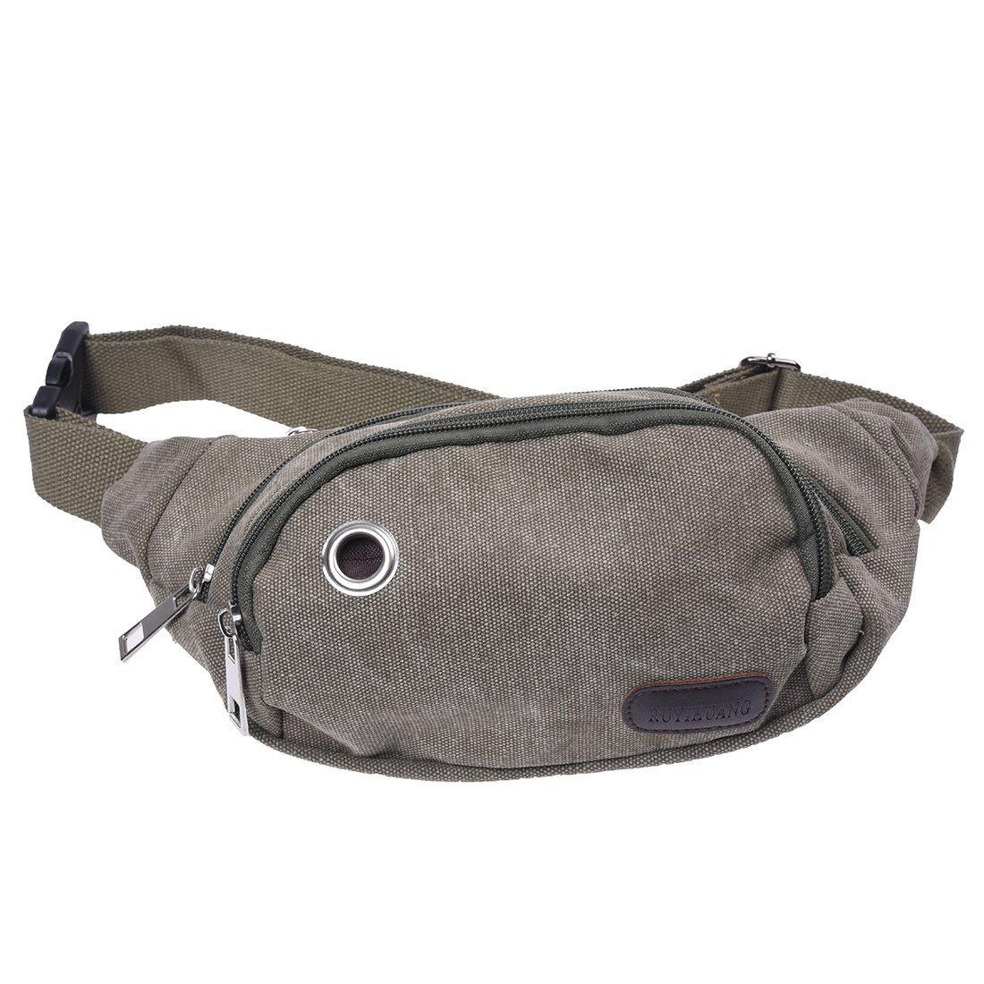 TOOGOO(R) Bolso De Cintura Para Hombre Bolsa De Pecho De Lona De Verde Militar Para Viaje Deporte UKPPLBDH7273