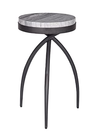 Treasure Trove 17389 Accent Table, White and Black