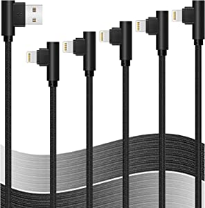 90 Degree Right Angle iPhone Charger Lightning Cable 5 Pack 3/3/6/6/10ft Certified Metal Long USB Cord iPhone 12/11/Pro/Max/X/XS/XR/XS/8/7/Plus/6/6S/SE-BLACK