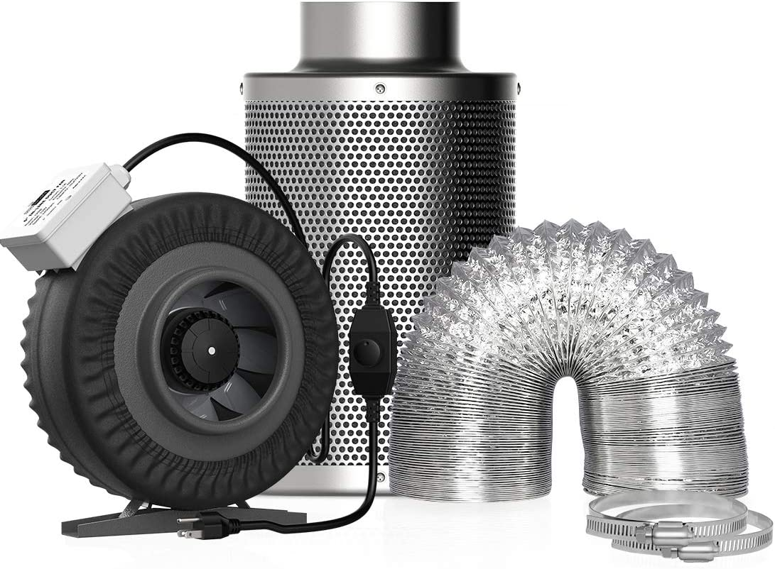VIVOHOME 4 Inch 203CFM Inline Duct Fan with Air Carbon Filter Odor Control Scrubber and 8 Feet Aluminum Flexible Dryer Vent Hose for HVAC Ventilation Set of 3