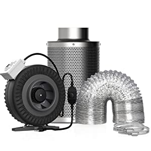 VIVOHOME 6 Inch 440CFM Inline Duct Fan with Air Carbon Filter Odor Control Scrubber and 8 feet Aluminum Flexible Dryer Vent Hose for HVAC Ventilation Set of 3