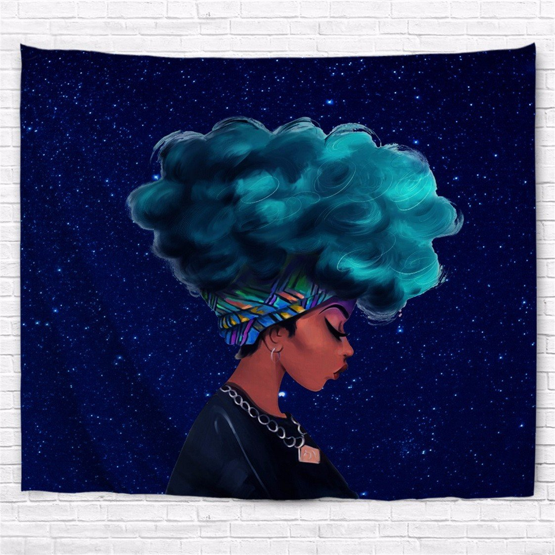 A.Monamour Blue Galaxy Stars Sparkling Backgrounds Blue Afro Hair African American Women Lady Art Print Polyester Fabric Wall Tapestry Wall Hangings Decors Curtain Tablecloth 153X102Cm/60 X 40