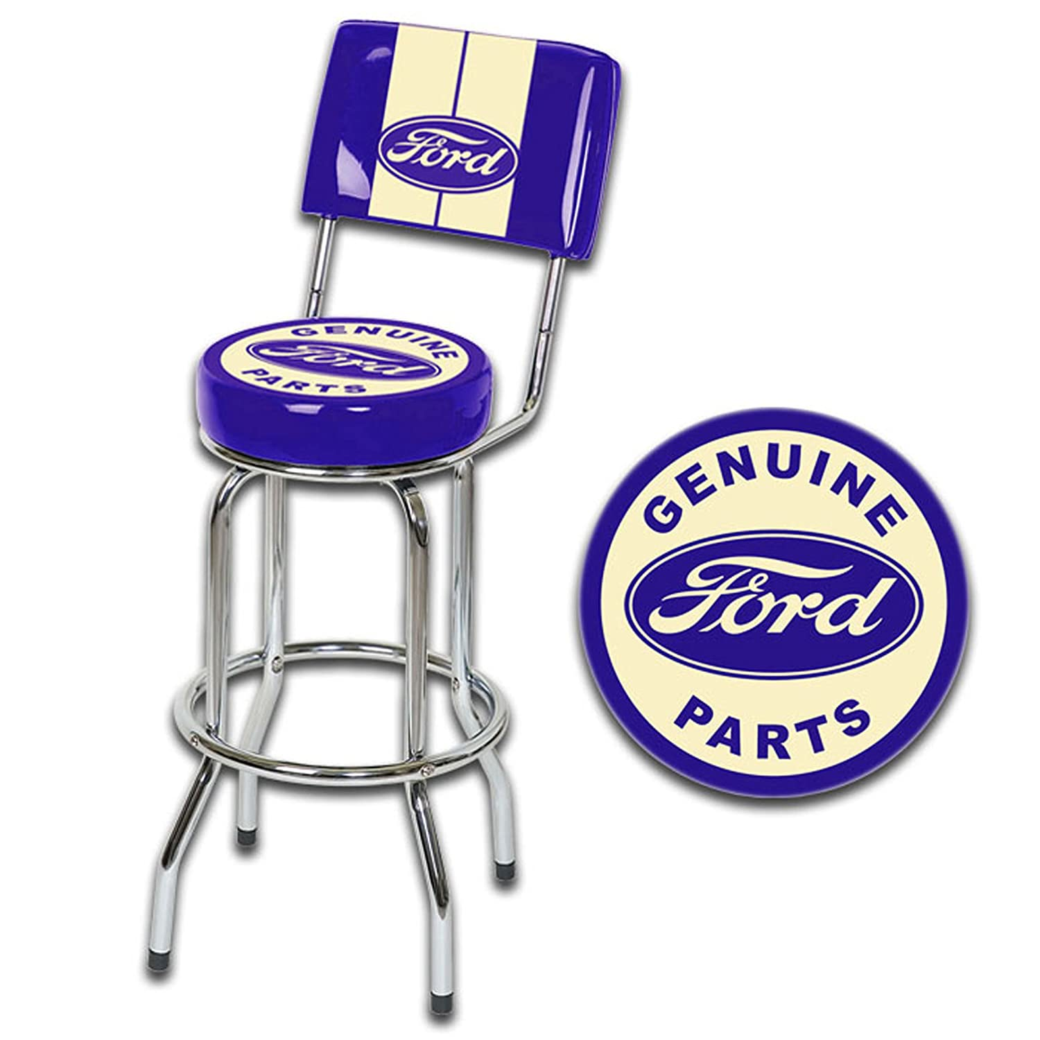 sc 1 st  Amazon.com & Amazon.com: Ford Genuine Parts bar Stool W/Backrest: Sports u0026 Outdoors islam-shia.org