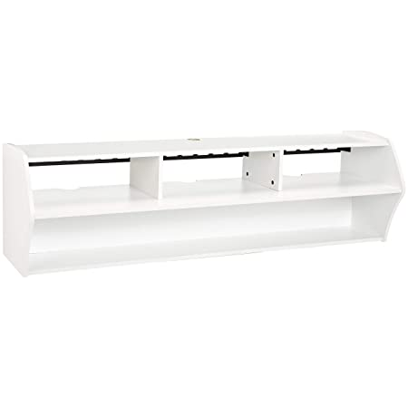 Rockpoint Bisenzio 58-Inch Floating Wall-Mounted TV Stand, Pure White