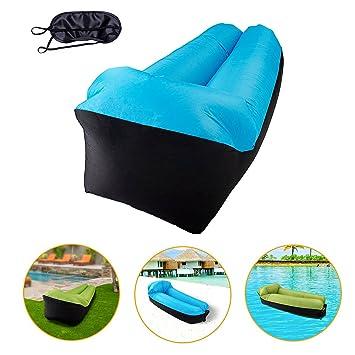 hinchable sofá exterior, hinchable Camilla, keepsa luftsofa Aire sofá con cojín integrado y Eyeshade, aire Saco de Playa, aire sofá, incluso – Sofá ...