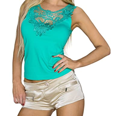 242f2acd22e2d Queen Debardeur Vert Dos Broderie Dentelle: Amazon.fr: Vêtements et ...