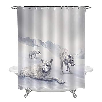 Water Wolf in Dark 71 Inch Bathroom Waterproof Fabric Shower Curtain /& 12 Hooks