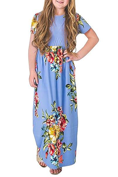 11d7a82fa Amazon.com  Foshow Girls Short Sleeve Long Maxi Dress Floral Flower ...