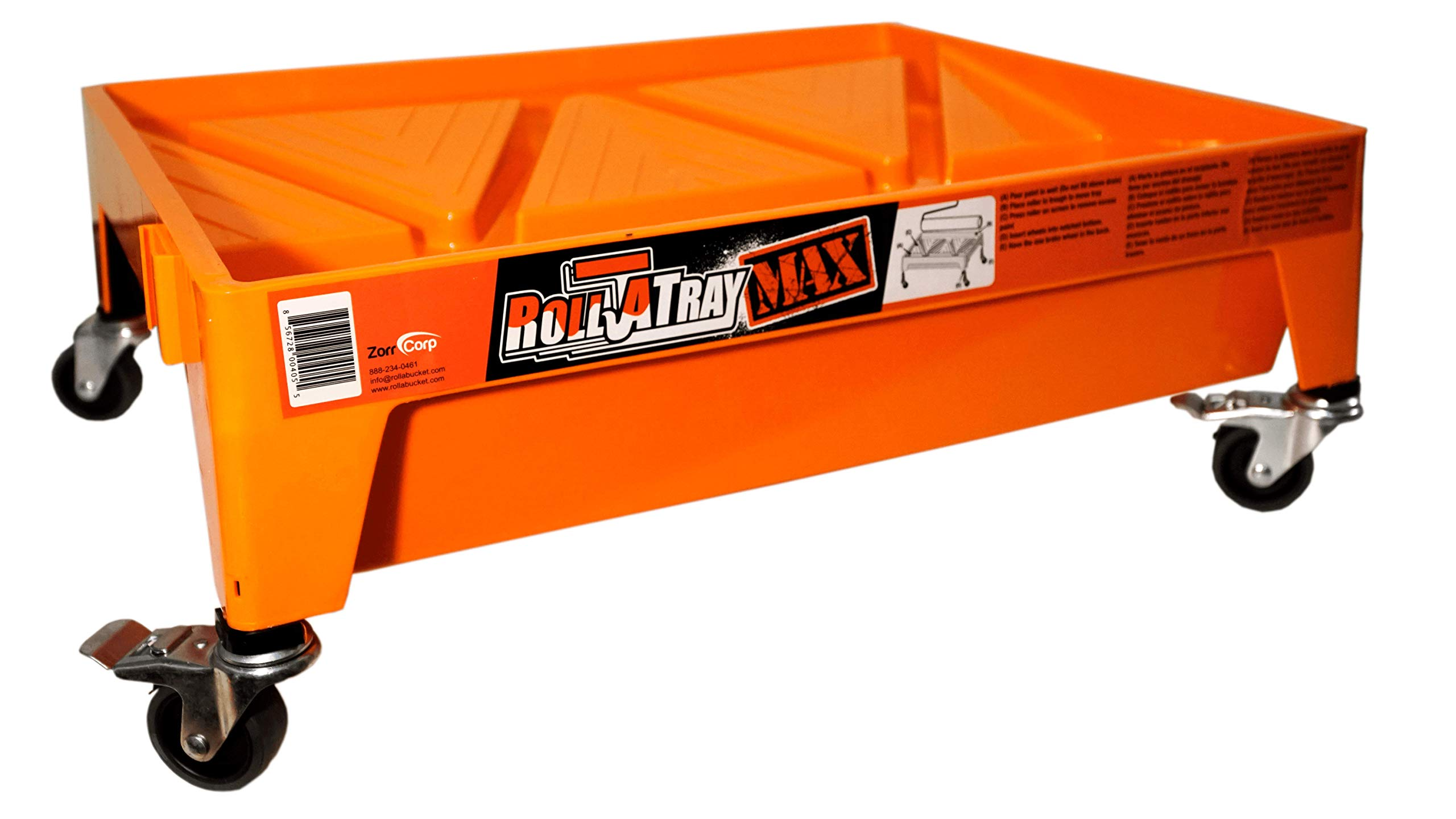 Zorr Corp RTM-18A Roll MAX 18'' Paint Tray on Wheels, 1.5 G, Orange