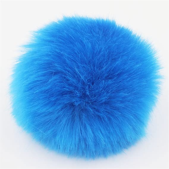 59e6ded47 2pcs DIY Faux Fur Pom Pom Ball - 3inch- for Knitting Hat Supplies (Black)
