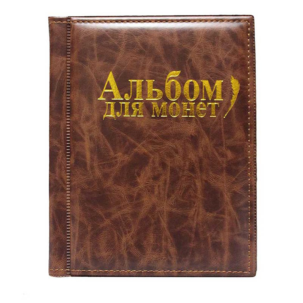 WINOMO Coin Holder Collection Coin Storage Album Book Money Penny Photograph Pocket for Collectors (Brown)