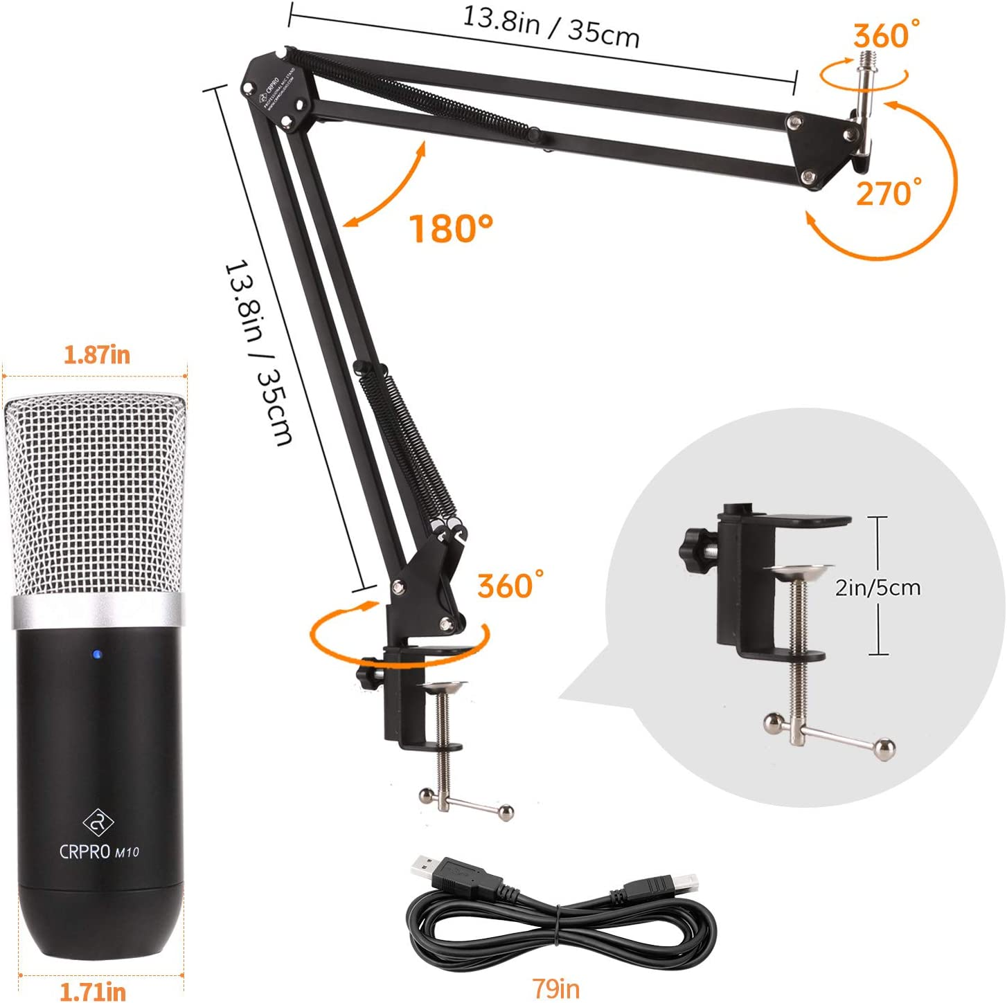 Microphones USB Condenser Microphone Kit for PC or laptop ...