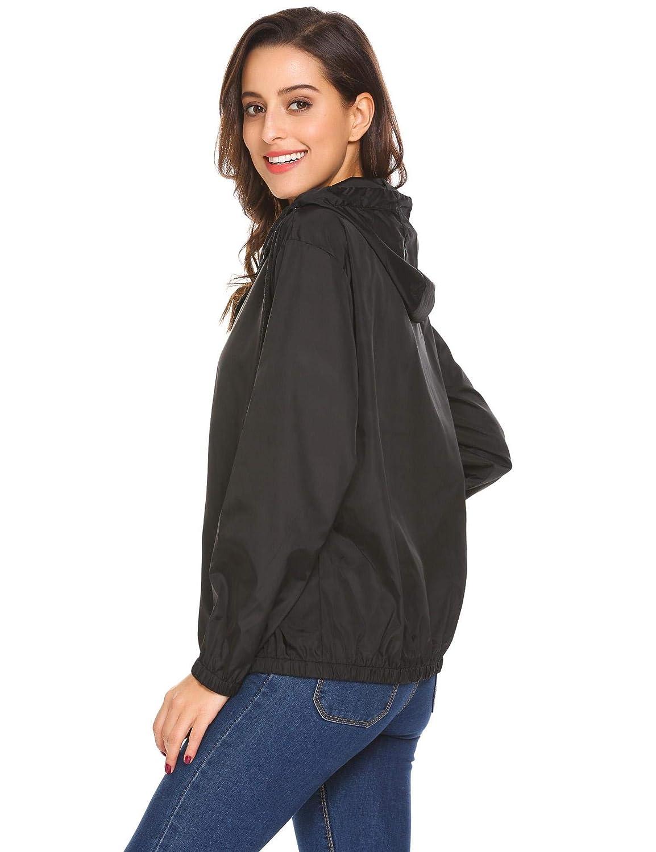 Small SUNAELIA Womens Raincoat Outdoor Contrast Hooded Lightweight Jackets Black Rain Jacket Waterproof Packable Rainwear