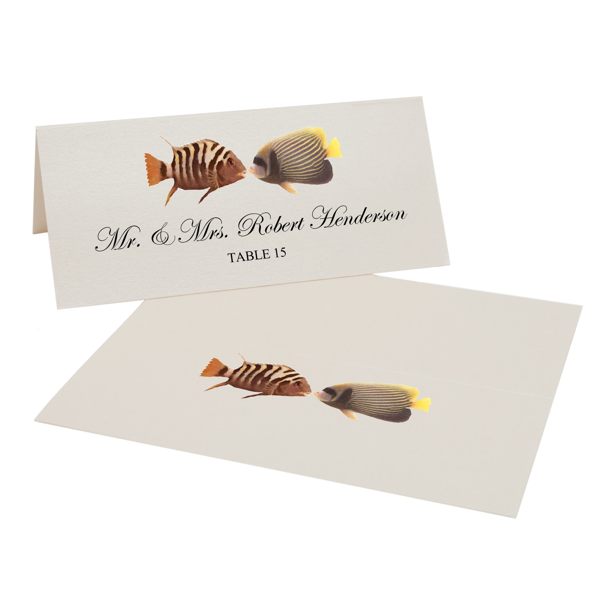 Kissing Fish Place Cards, Champagne, Set of 500 by Documents and Designs