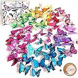 Goodlucky365® 72 Pezzi Farfalle 3d Farete Misura Grande Adesiv da Parete 3d con Farfalle 12 Pezzi blu +12 Pezzi giallo +12 Pezzi verde +12 Pezzi viola decorazioni a farfalla in plastica, decorazione da parete