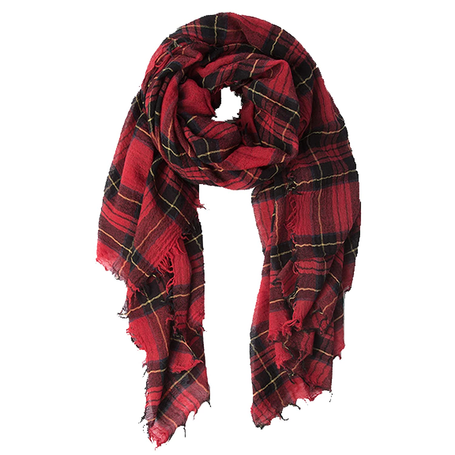 Chan Luu Combo Plaid Print Wool Scarf in Red and Black