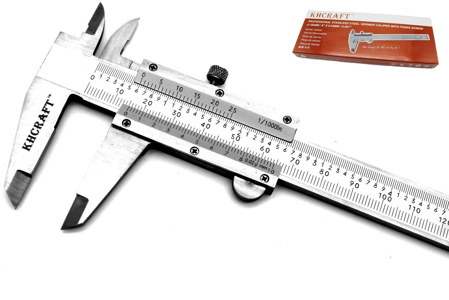 KHCRAFT Professional Caliper Vernier Caliper Stainless Steel Hardened Chromeplated Inch/Metric 0-6''/150mmx0.001''/0.02mm for Precision Measurements Outside/Inside/Depth/Step Packed in Storage Case