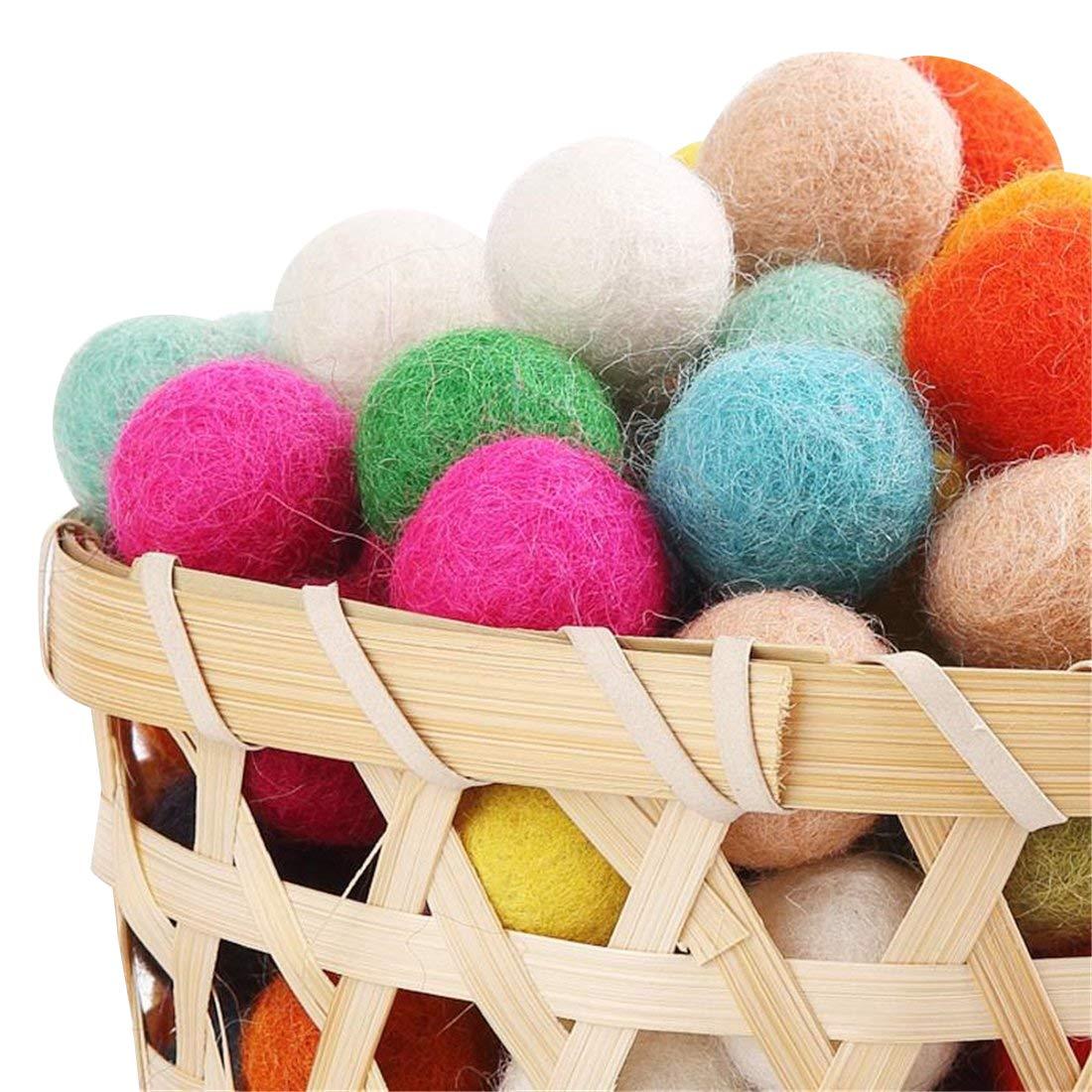Felt Balls Beads 200pc Wool Felt Ball 20mm Multicolors Flocking Ball Wool Balls Colourful Beads Christmas decoration