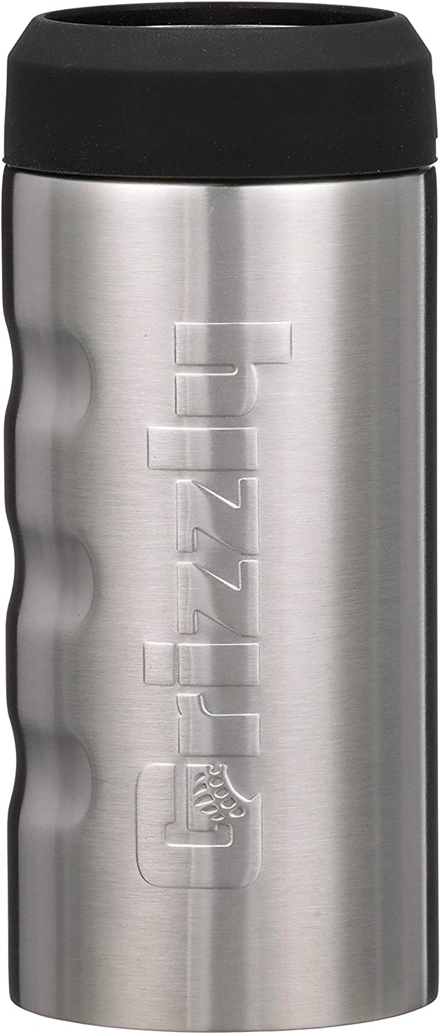 Grizzly Grip Slim Can, Stainless Steel Vacuum Insulated Can Cooler, Brushed Stainless, 12 oz