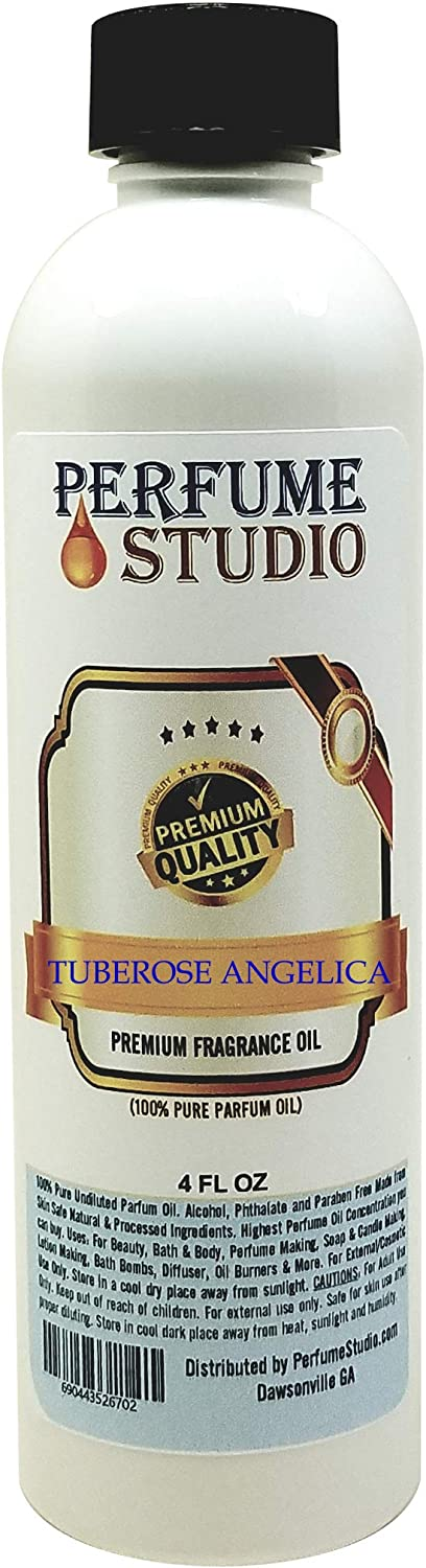 Tuberose Angelica Perfume - Premium Quality Fragrance Oil for Body Oil Perfume, Cologne, Candle & Soap Making, Diffuser, Burners - Pure Parfum Strength Top Grade Scented Oil (Tuberose Angelica 4oz)
