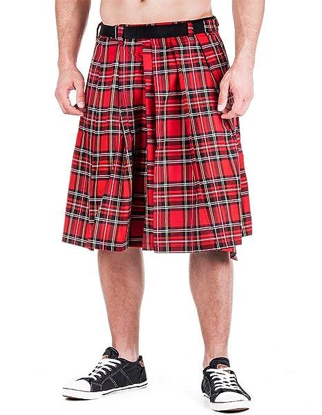 Falda escocesa de tartán rojo hasta 4XL: Amazon.es: Ropa y accesorios