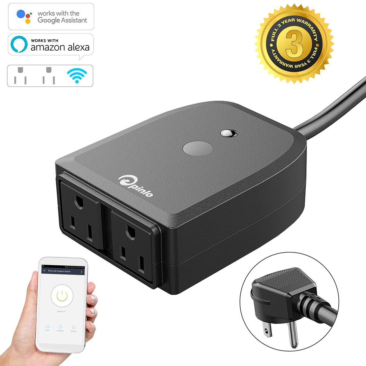 Outdoor wifi outlet,Outdoor smart plug with 2 Independent Controlled Sockets Wireless Remote Control/Timer,Compatible with Alexa/Google Home Assistant,Waterproof for Indoor Outdoor Use,No Hub Required