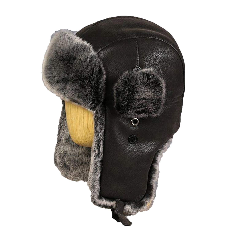 71817619f469b0 Winter Bomber Hats Vintage Caps Men Women Faux Fur Trapper Hat PU Leather  Wind Proof Trooper Hats at Amazon Women's Clothing store: