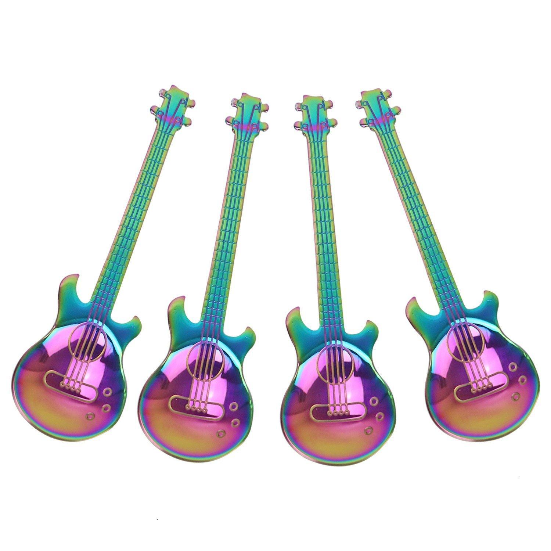 Colorful Stainless Steel Rainbow Guitar Mixing Spoon Drink Teaspoon Flatware LS