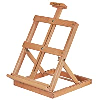 MEEDEN Artist Tabletop Wooden H-Frame Studio Easel - Artists Adjustable Beechwood Painting and Display Easel, Holds Up…