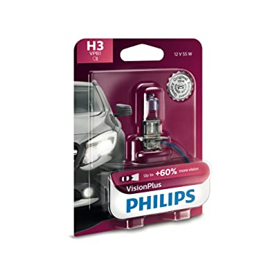 Philips H3 VisionPlus Upgrade Headlight Bulb with up to 60% More Vision, 1 Pack: Automotive